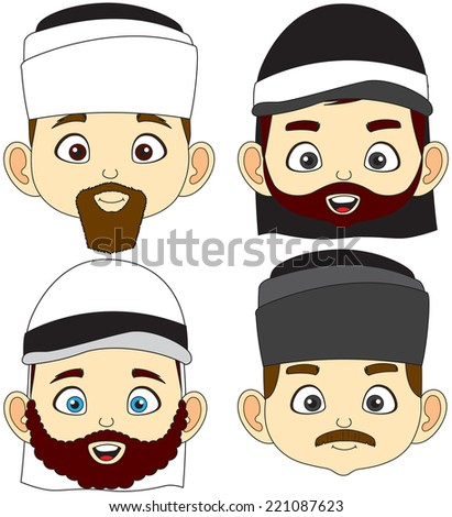 Vector illustration of beard and mustache four Muslim men faces - stock vector