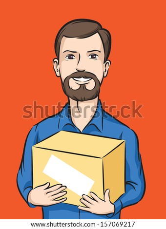Vector illustration of bearded delivery man with box. Easy-edit layered vector EPS10 file scalable to any size without quality loss. High resolution raster JPG file is included. - stock vector