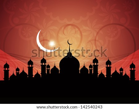 vector illustration of  beautiful artistic background with mosque for ramadan and eid. - stock vector