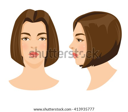 Vector illustration of beautiful brunette girl with bob hairstyle and brown eyes isolated on white background. Face in front. Face in profile. Various turn head. - stock vector