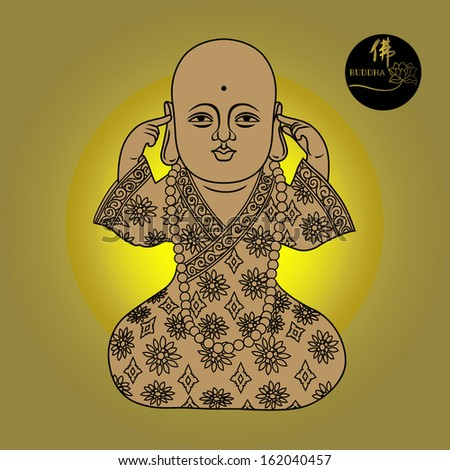 Vector illustration of beautiful buddha figure. Chinese Calligraphy Fo, Translation: Buddha/ Buddhism. - stock vector