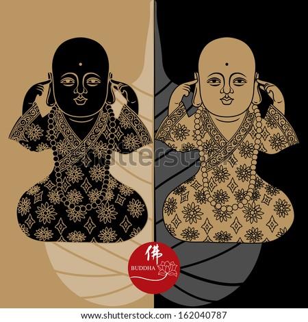 Vector illustration of beautiful buddha figure with buddha�s leaf. Chinese Calligraphy Fo, Translation: Buddha/ Buddhism  - stock vector