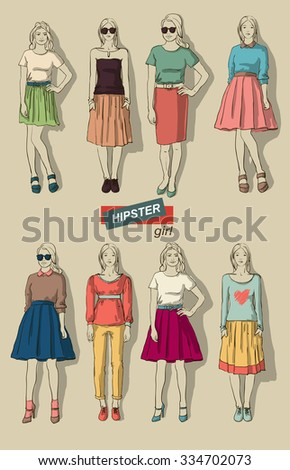 vector illustration of beautiful fashion girls hipsters set - stock vector