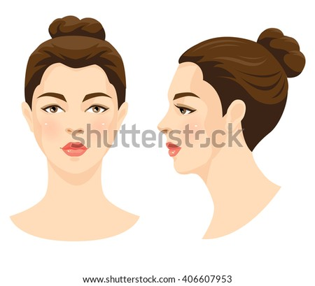 Vector illustration of beautiful girl with brown hair and brown eyes isolated on white background. Face in front. Face in profile. Various turn head. - stock vector