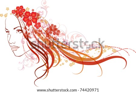 Vector illustration of beautiful girl with flowers in hair - stock vector
