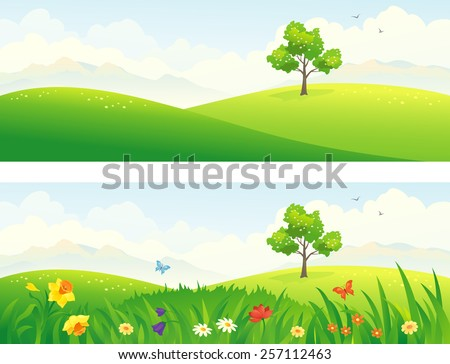 Vector illustration of beautiful green and blooming hills - stock vector