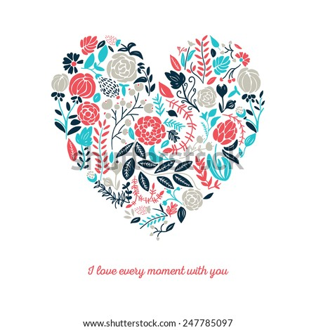 Vector illustration of beautiful hand drawn flowers and plants in heart. The best for Valentines's Day, Wedding and Birthday design. - stock vector