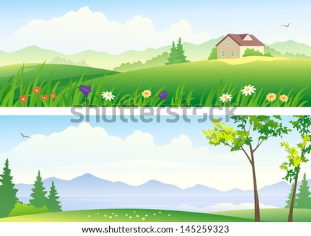 Vector illustration of beautiful landscapes - stock vector