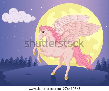 Vector illustration of beautiful Pegasus and big moon - stock vector