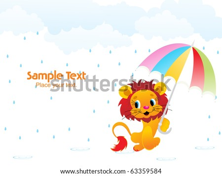 vector illustration of beautiful rainy day background - stock vector