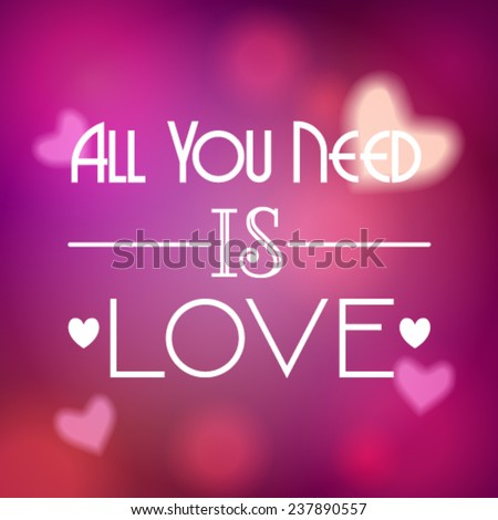 Vector illustration of beautiful soft focus, bokeh, glittering Valentine's Day background with text - stock vector
