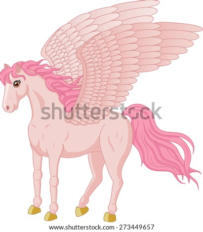 Vector illustration of beautiful standing Pegasus - stock vector