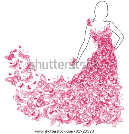 Vector illustration of beautiful summer woman with butterfly dress - stock vector
