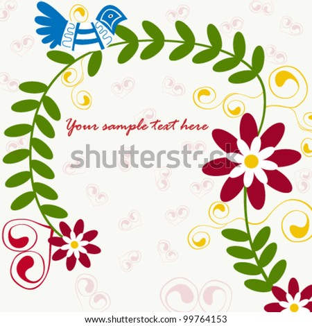 Vector illustration of beautiful traditional floral invitation - stock vector