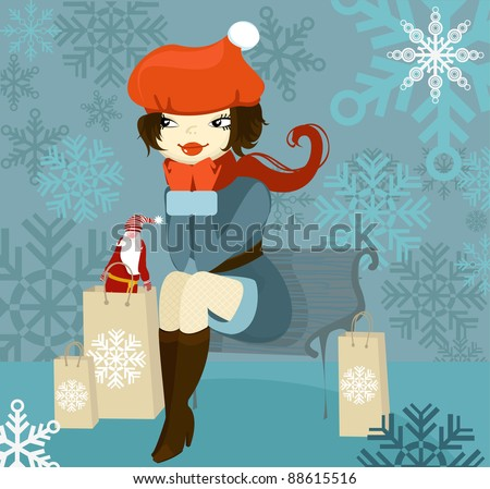Vector illustration of beautiful winter girl sitting on a bench with Christmas purchases - stock vector
