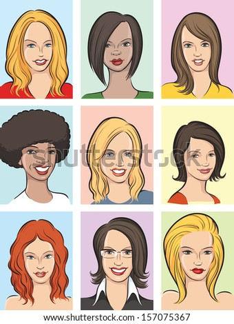 Vector illustration of beautiful women heads. Easy-edit layered vector EPS10 file scalable to any size without quality loss. High resolution raster JPG file is included. - stock vector