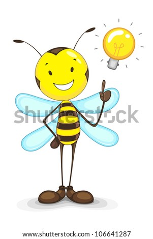 vector illustration of bee with idea bulb above head - stock vector