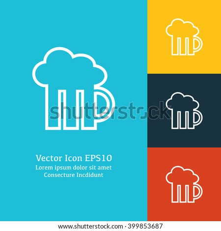 Vector illustration of beer icon, beer icon button, vector beer icon, beer icon image, beer icon badge, beer icon sign, beer icon  logo, beer icon design, flat beer icon, white beer icon - stock vector