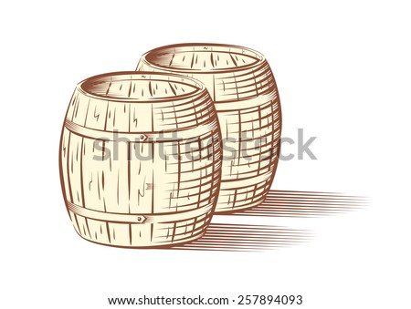 Vector illustration of beer or wine barrels, isolated on white background  - stock vector