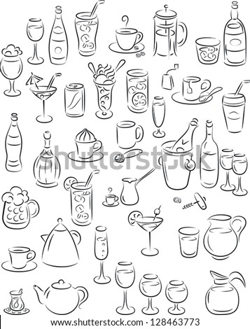 vector illustration of beverage collection in black and white - stock vector