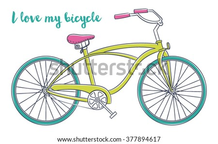 Vector illustration of bicycle - stock vector