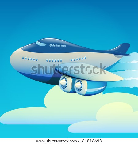Vector illustration of Big airplane flying in the sky - stock vector
