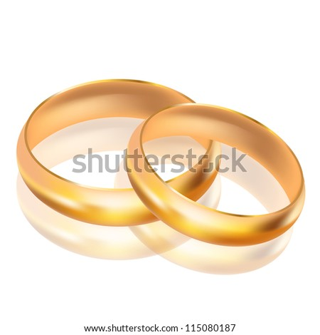 Vector illustration of big and small gold rings - stock vector