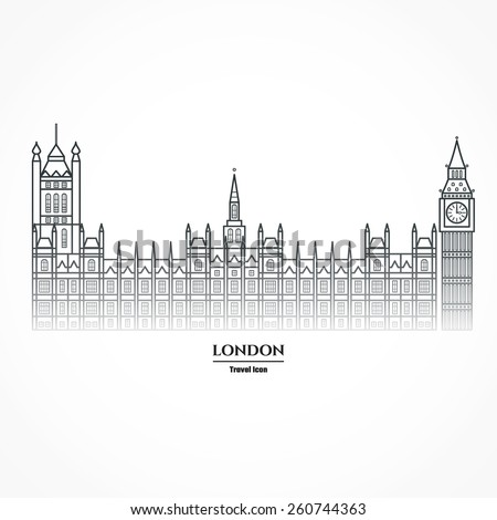 Vector Illustration of Big Ben and Parliament  Icon Outline for Design, Website, Background, Banner. Travel Britain Landmark Element Silhouette Template for Tourism Flayer - stock vector