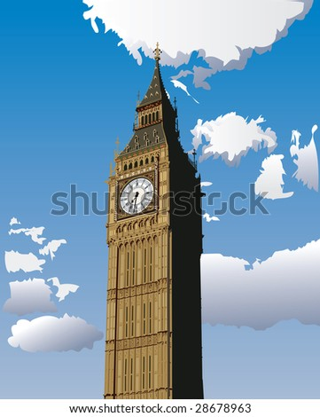 Vector illustration of Big Ben, one of the most popular landmark in London, Great Britain. - stock vector