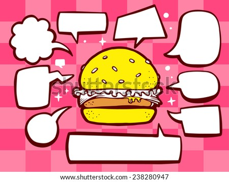 Vector illustration of big burger with speech comics bubbles on pink pattern background. Line art design for web, site, advertising, banner, poster, board and print. - stock vector