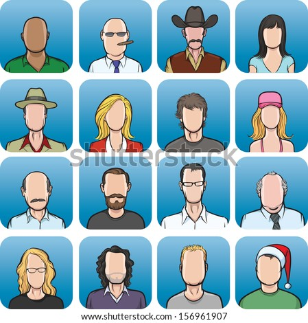 Vector illustration of big collection of  anonymous faces. Easy-edit layered vector EPS10 file scalable to any size without quality loss. High resolution raster JPG file is included. - stock vector