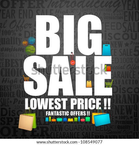 vector illustration of big sale poster with different element - stock vector