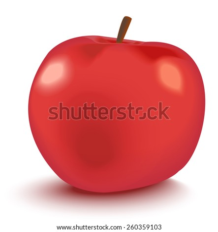 Vector illustration of  big shiny red apple - stock vector