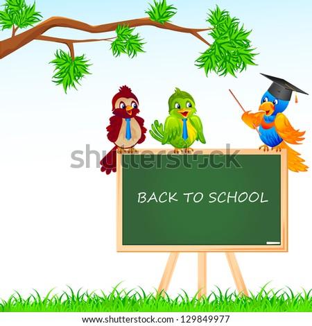 vector illustration of bird student and teacher sitting on blackboard - stock vector