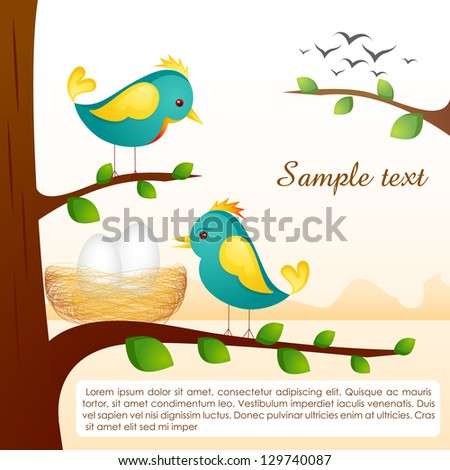 vector illustration of birds with nest sitting on tree branch - stock vector