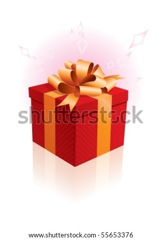 Vector Illustration of birthday giftbox on the background. - stock vector