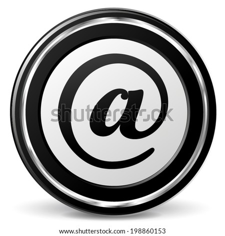 Vector illustration of black and chrome arroba icon - stock vector