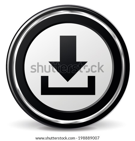 Vector illustration of black and chrome download icon - stock vector