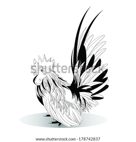 Vector illustration of black and white Bantam on a white background - stock vector