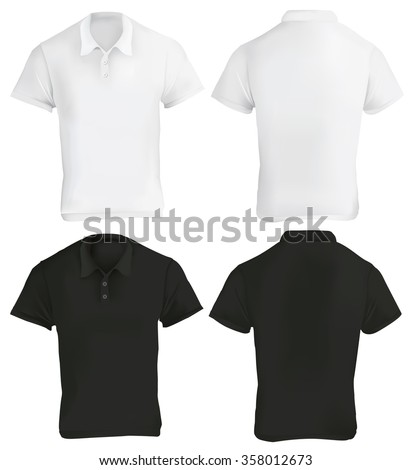 Vector illustration of black and white blank polo shirt template, front and back, realistic gradient mesh design, isolated on white - stock vector
