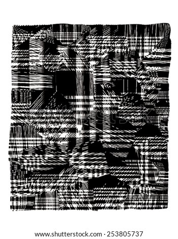 Vector illustration of black and white glitch distorted pattern. Tartan, plaid fabric. - stock vector