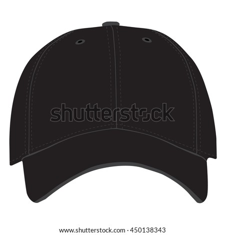 Vector illustration of black baseball cap front view isolated on white background. Baseball cap template design - stock vector