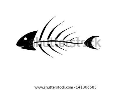 Fish Bones Drawing Black Fish Bone Over White