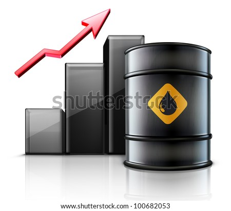 Vector illustration of black metal oil barrel with finance graph and a red arrow showing an increase of gasoline consumption or rise in a cost of oil - stock vector