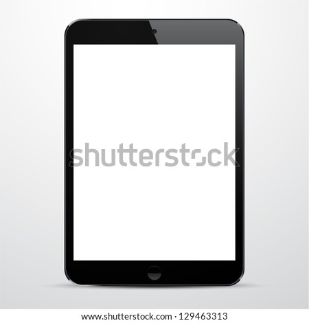 Vector illustration of black modern realistic tablet pad with empty white screen. Eps10. - stock vector