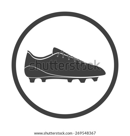 Vector illustration of black soccer shoes, american football boots icon on white background. Circle. - stock vector