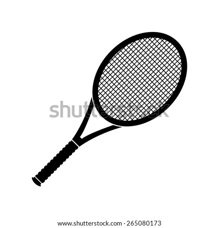 Vector illustration of black tennis racket icon. - stock vector