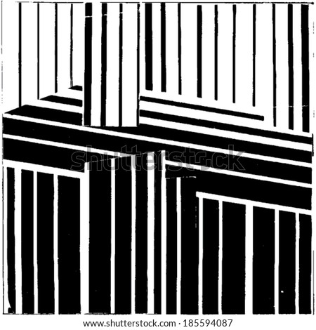 Vector illustration of black & white op art pattern / background. Optical illusion.  - stock vector