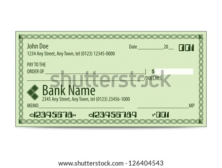 Vector illustration of blank bank check - stock vector