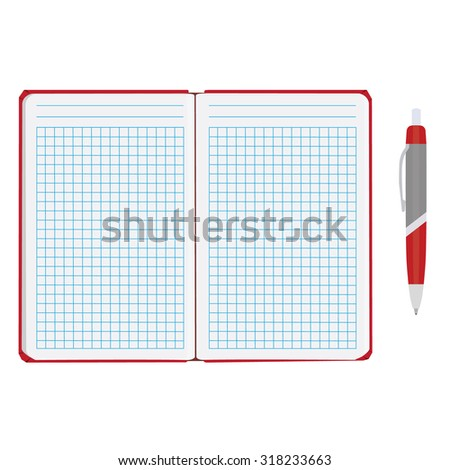 Vector illustration of blank empty notepad, notebook. Opened notebook. Squared sheet paper and ball pen - stock vector